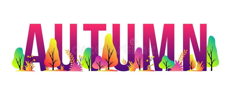 Ilustração na moda do outono do vetor com letras, árvores e plantas Fundo sazonal moderno para a bandeira, cartaz ilustração do vetor