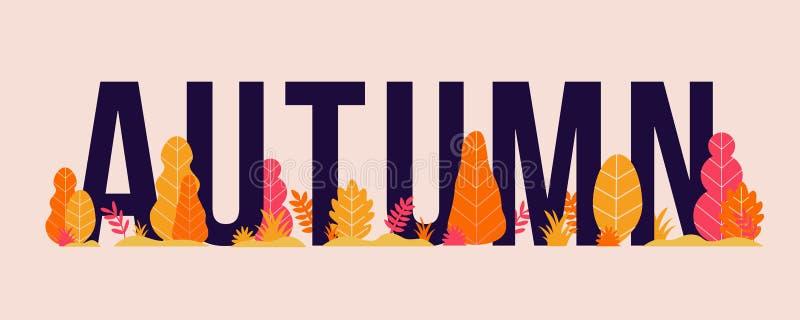 Ilustração na moda do outono do vetor com letras, árvores e plantas Fundo sazonal moderno para a bandeira, cartaz ilustração royalty free