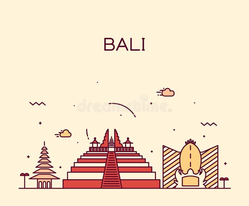 Ilustração na moda do vetor da skyline de Bali linear ilustração stock