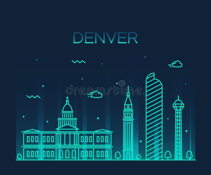 Ilustração na moda do vetor da skyline de Denver linear ilustração stock
