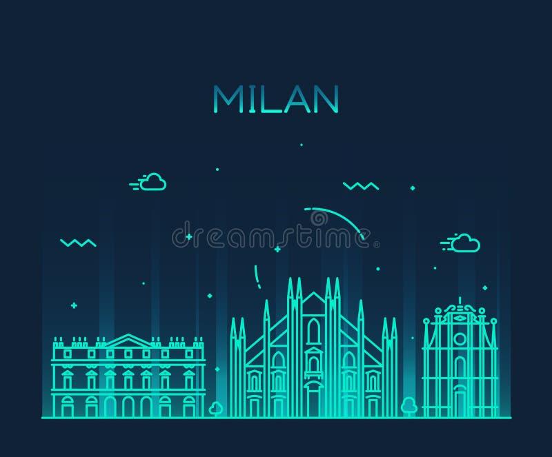 Ilustração na moda do vetor da skyline de Milão linear ilustração royalty free