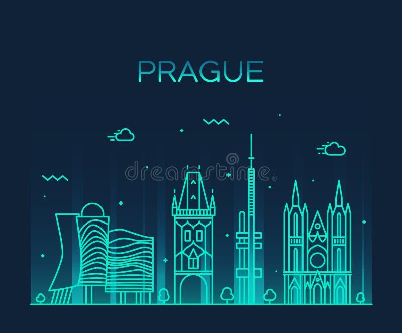 Ilustração na moda do vetor da skyline de Praga linear ilustração royalty free