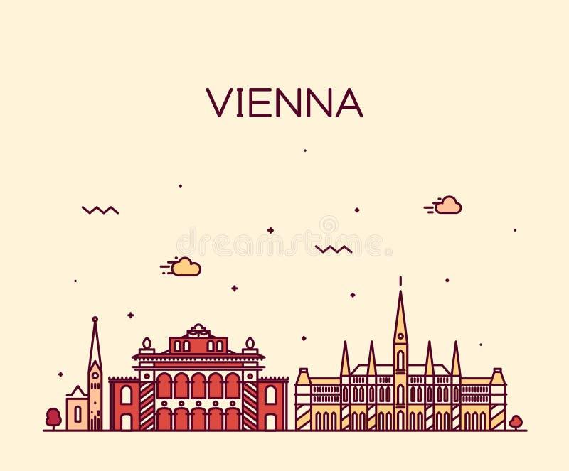 Ilustração na moda do vetor da skyline de Viena linear ilustração stock