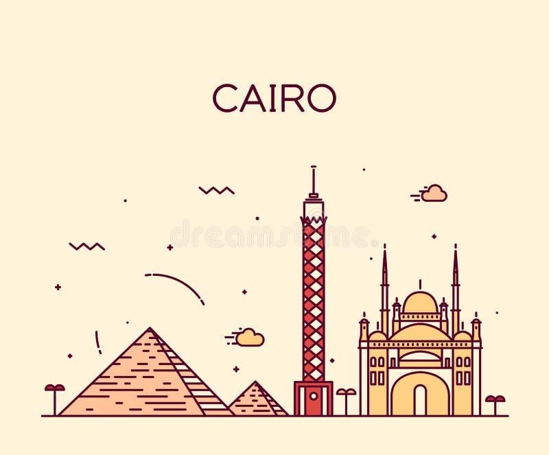 Ilustração na moda do vetor da skyline do Cairo linear ilustração royalty free