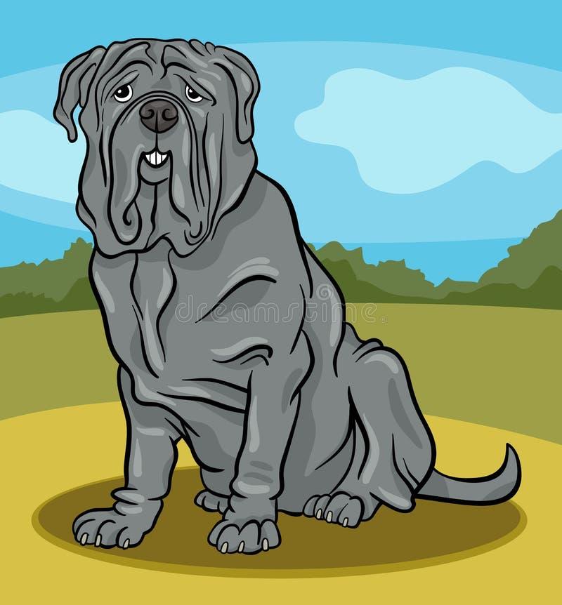 Ilustração napolitana dos desenhos animados do cão do mastiff ilustração stock