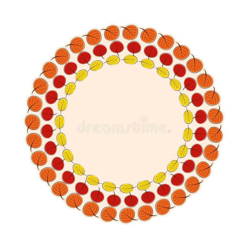 Ilustração natural de Sunny Autumn Leaves Frame Background Vetora ilustração stock