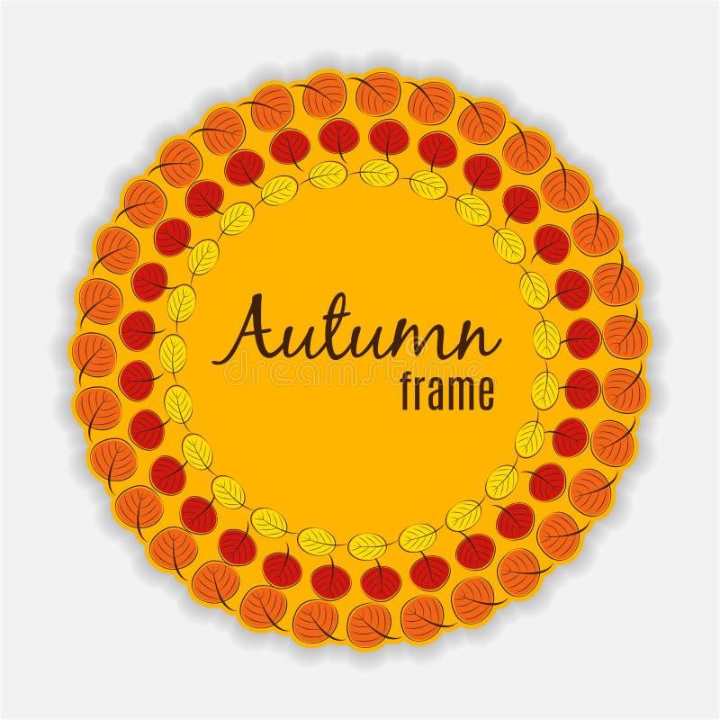 Ilustração natural de Sunny Autumn Leaves Frame Background Vetora ilustração do vetor