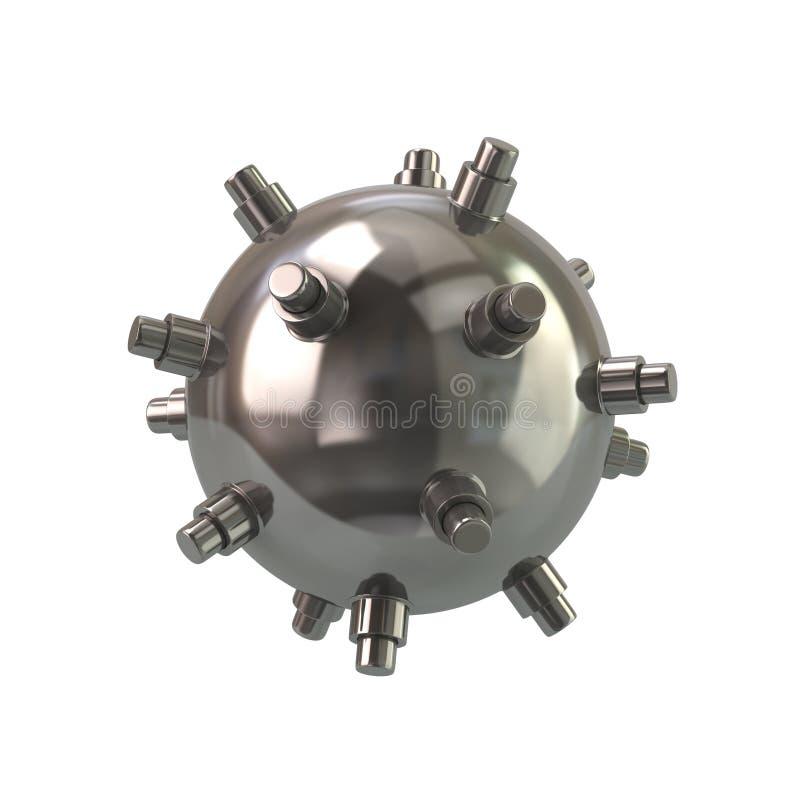 Ilustração naval de aço da mina 3d ilustração do vetor
