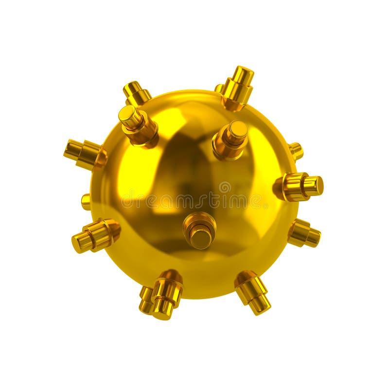 Ilustração naval dourada da mina 3d ilustração stock