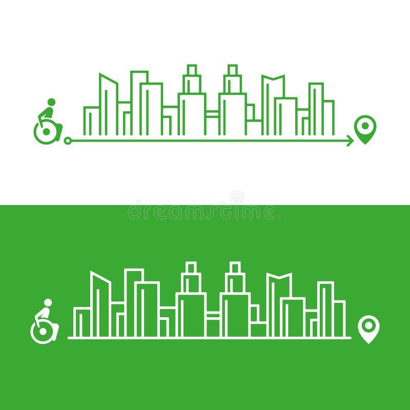 Ilustração no assunto de uma cidade acessível para os enfermos, um navegador para os enfermos ilustração royalty free