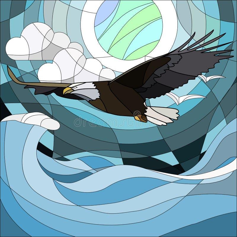 A ilustração no estilo do vitral com águia fabulosa e a lua na noite do fundo star o céu e as nuvens ilustração royalty free