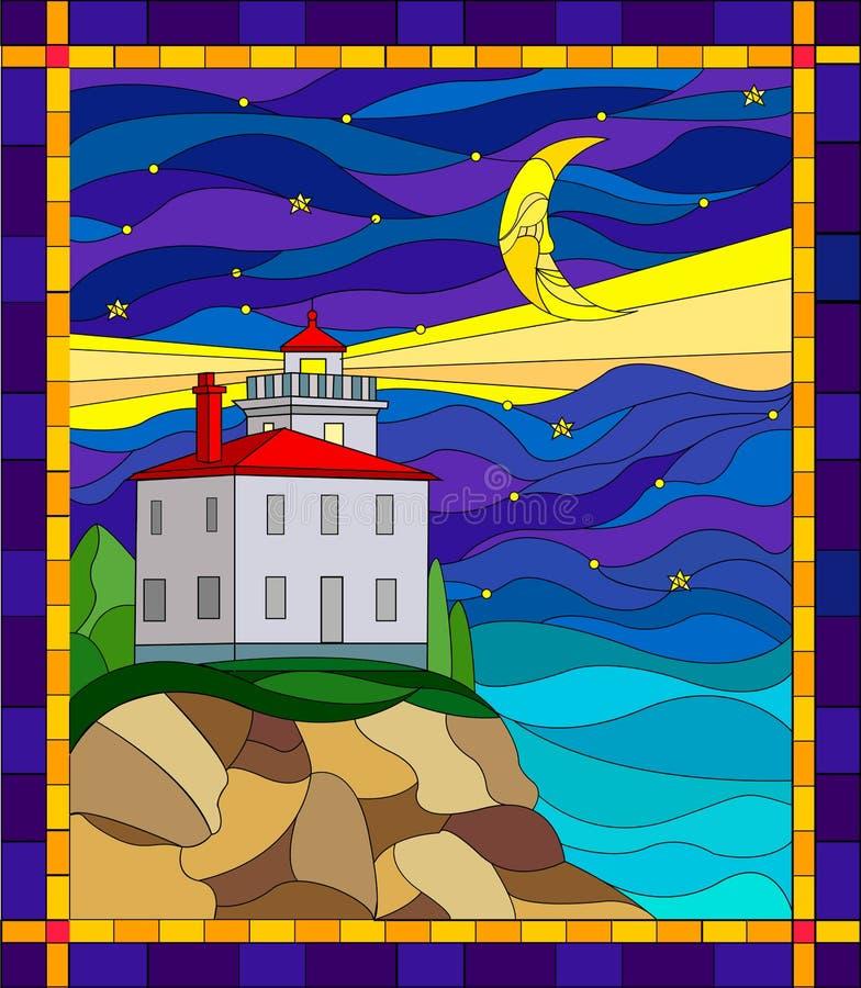 Ilustração no estilo do vitral com o seascape, farol no fundo do céu noturno e o mar ilustração stock