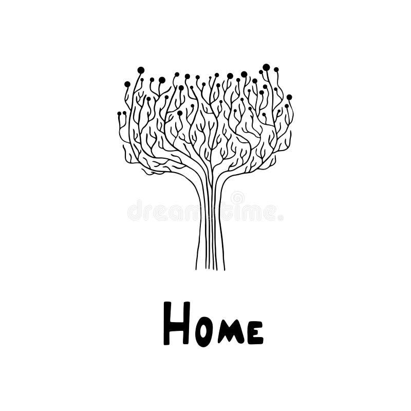 Ilustração no estilo escandinavo, árvore do vetor Fundo branco Ilustração preto e branco minimalism ilustração royalty free