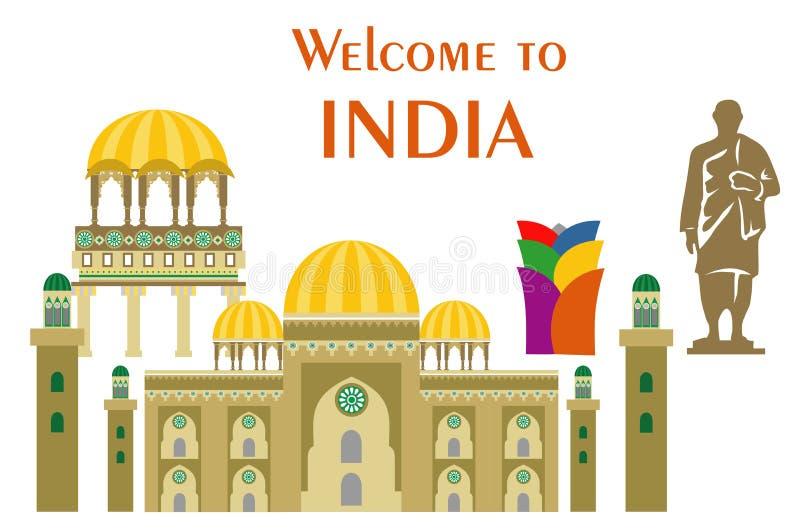 Ilustração no estilo liso do projeto com algumas vistas de india ilustração royalty free