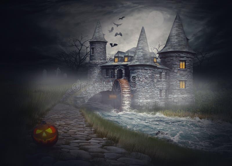 A ilustração no tema de Dia das Bruxas imagem de stock