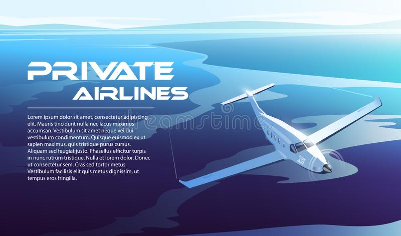 Ilustração no tema do curso pelo avião, linhas aéreas privadas ilustração stock