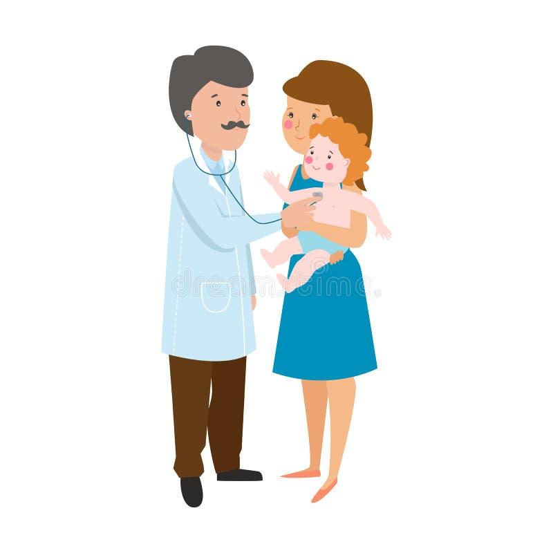 Ilustração nova do vetor da mãe e do doutor ilustração stock