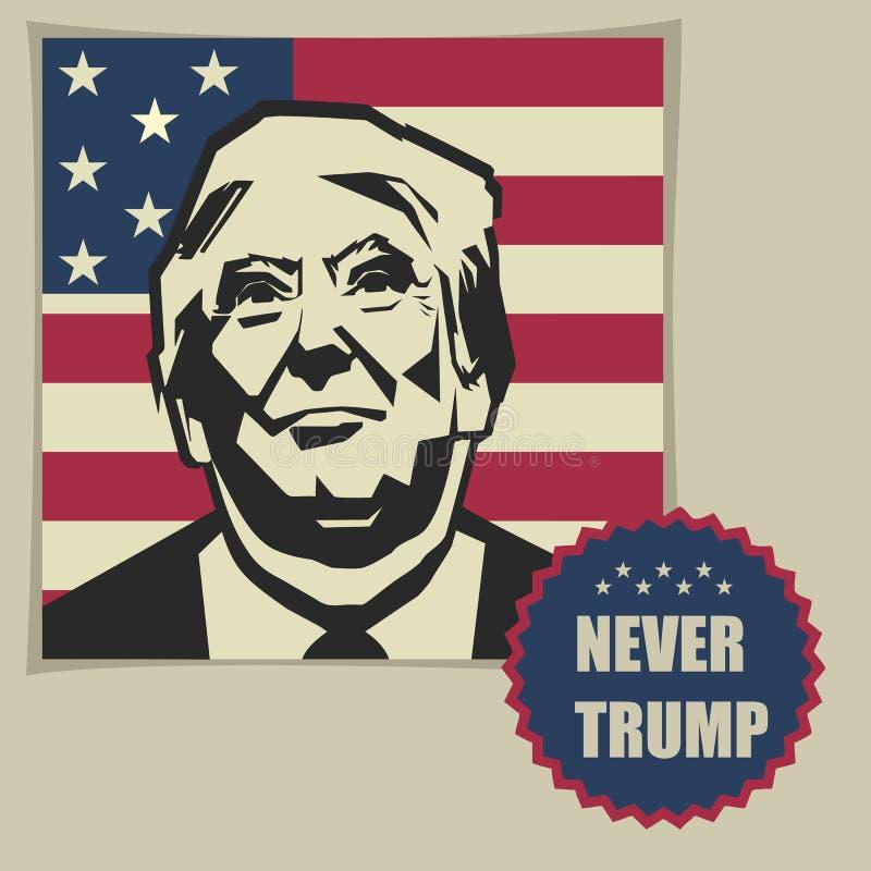 Ilustração nunca Donald Trump, projeto liso ilustração do vetor