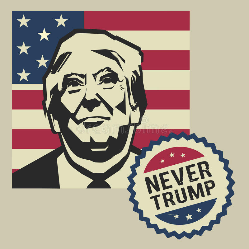 Ilustração nunca Donald Trump, projeto liso ilustração stock