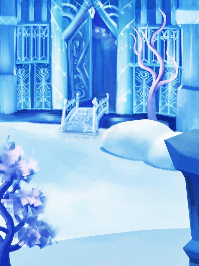 Ilustração: O pátio traseiro do palácio da neve ilustração royalty free
