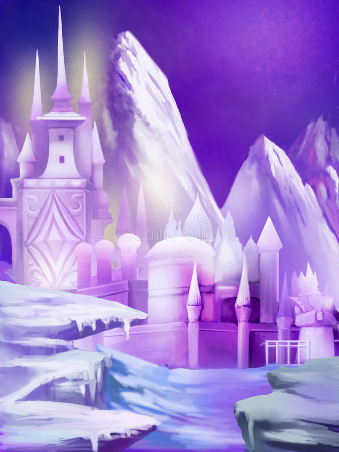 Ilustração: O palácio novo da neve movido para o Polo Norte ilustração royalty free