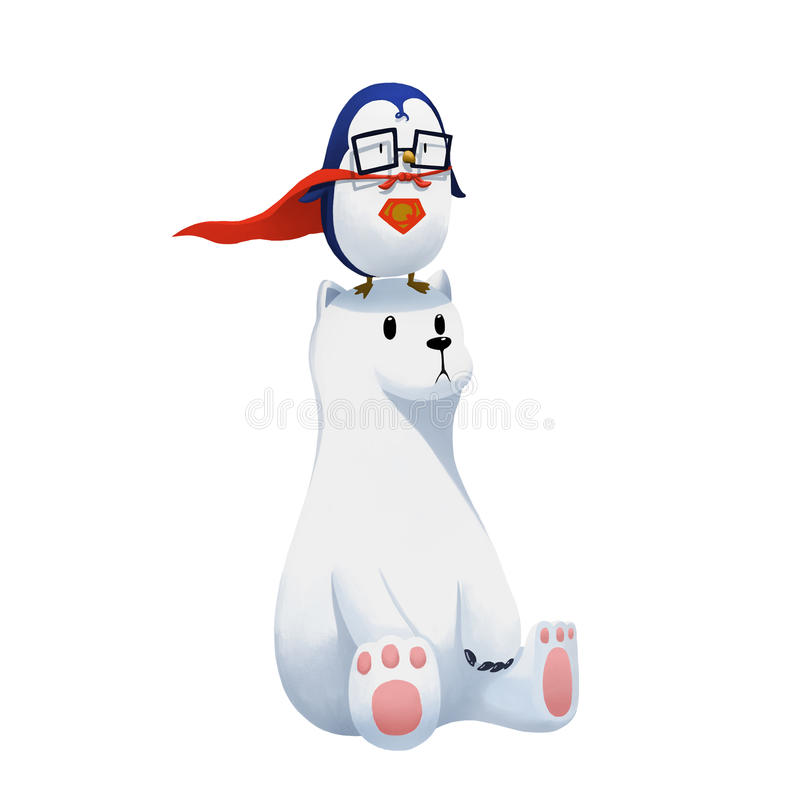 Ilustração: O pinguim super e o urso polar isolados no fundo branco ilustração royalty free