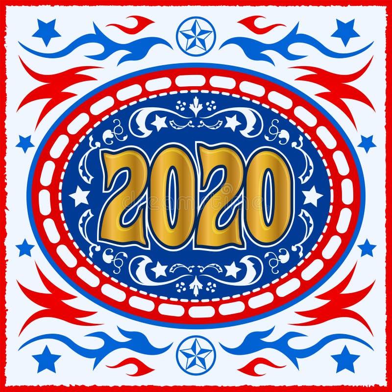 Ilustração ocidental do vetor de Belt Buckle do vaqueiro 2020 ilustração stock
