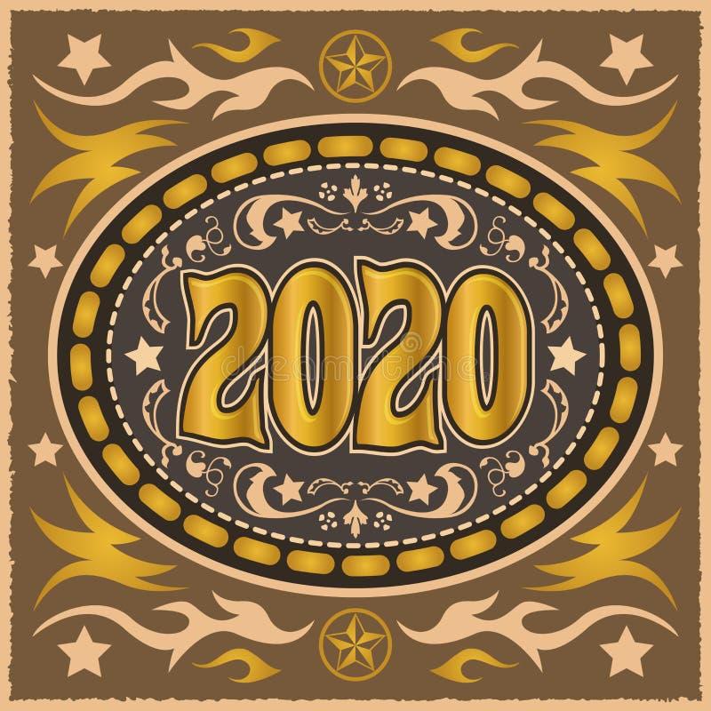 Ilustração ocidental do vetor de Belt Buckle do vaqueiro 2020 ilustração do vetor