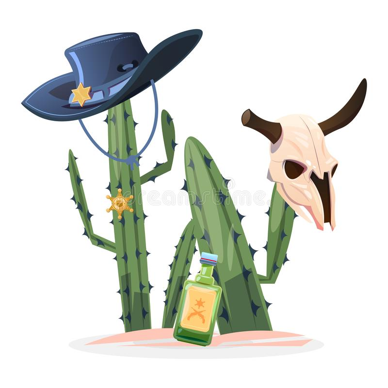 Ilustração ocidental selvagem do vetor Crânio do touro do cacto ilustração royalty free