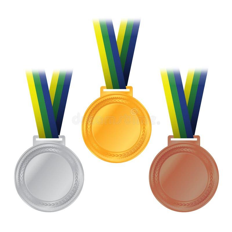 Ilustração olímpica do bronze da prata do ouro das medalhas ilustração stock