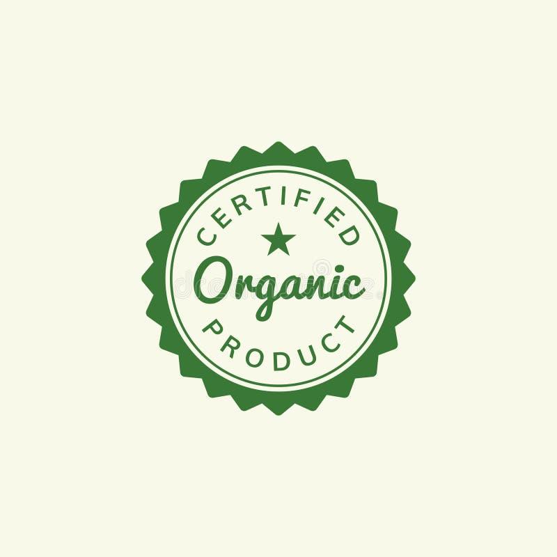 Ilustração orgânica certificada do emblema do selo do produto ilustração royalty free