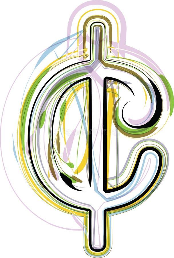 Ilustração orgânica do símbolo do centavo da fonte ilustração stock