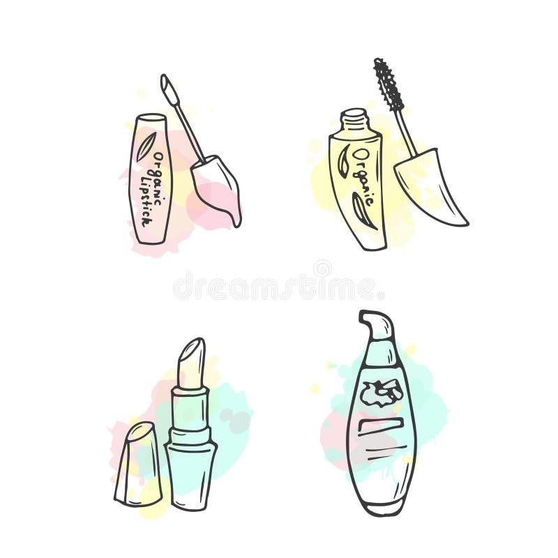 Ilustração orgânica dos cosméticos Garrafas do cosmético do vetor Artigos dos cuidados com a pele da garatuja Grupo tirado mão Lo ilustração do vetor