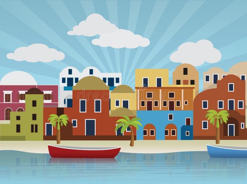 Ilustração oriental da cidade ilustração stock