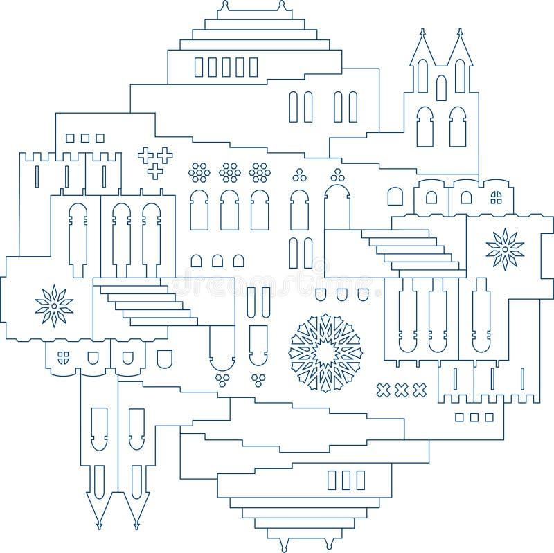 Ilustração oriental simétrica da cidade na linha estilo ilustração royalty free