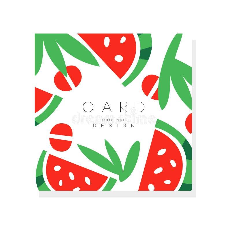 Ilustração original com partes de melancia madura Fruto doce do verão Nutrição saudável Alimento biológico Projeto do vetor ilustração royalty free
