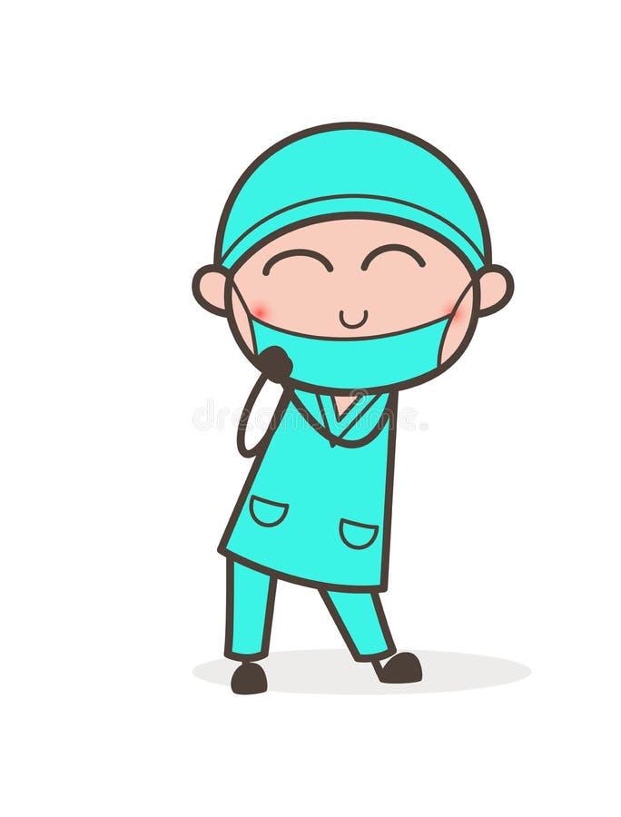 Ilustração ortopédica do doutor Blushing Face Vetora dos desenhos animados ilustração do vetor