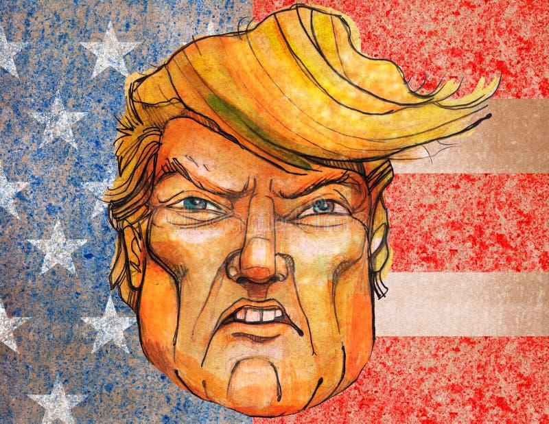 Ilustração ou desenho tirado mão de Donald Trump ilustração royalty free