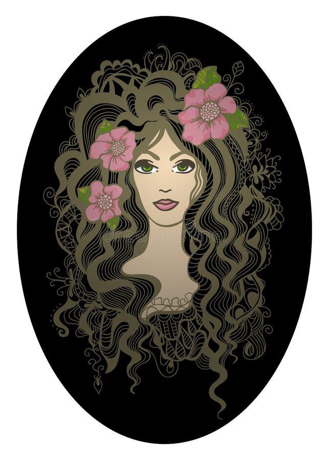 Ilustração oval criativa do vetor. Mão bonita ilustração royalty free