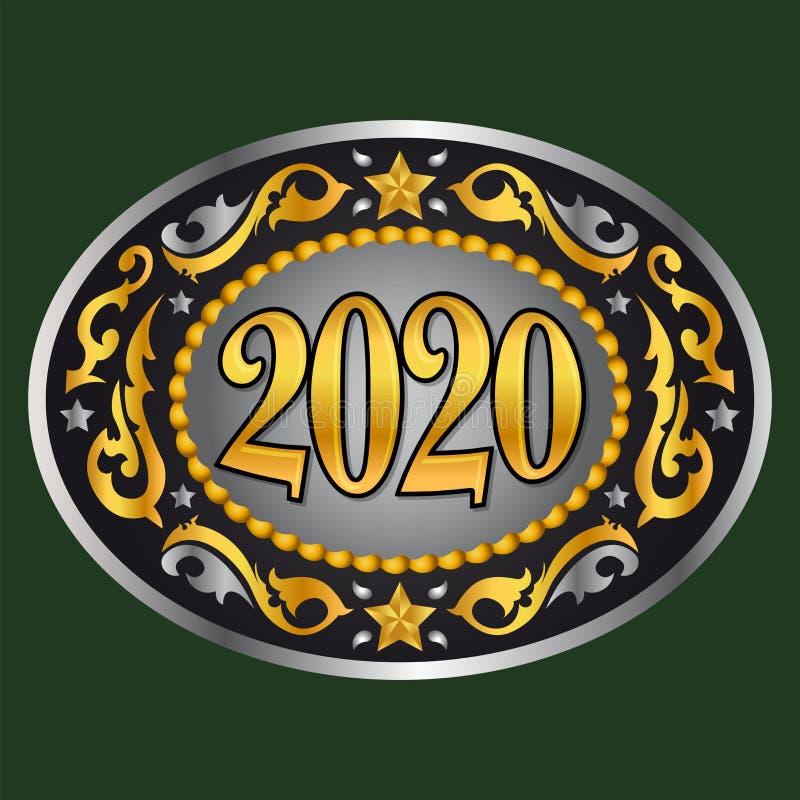 Ilustração 2020 oval do vetor da fivela de cinto do ano novo de Western Style do vaqueiro ilustração do vetor