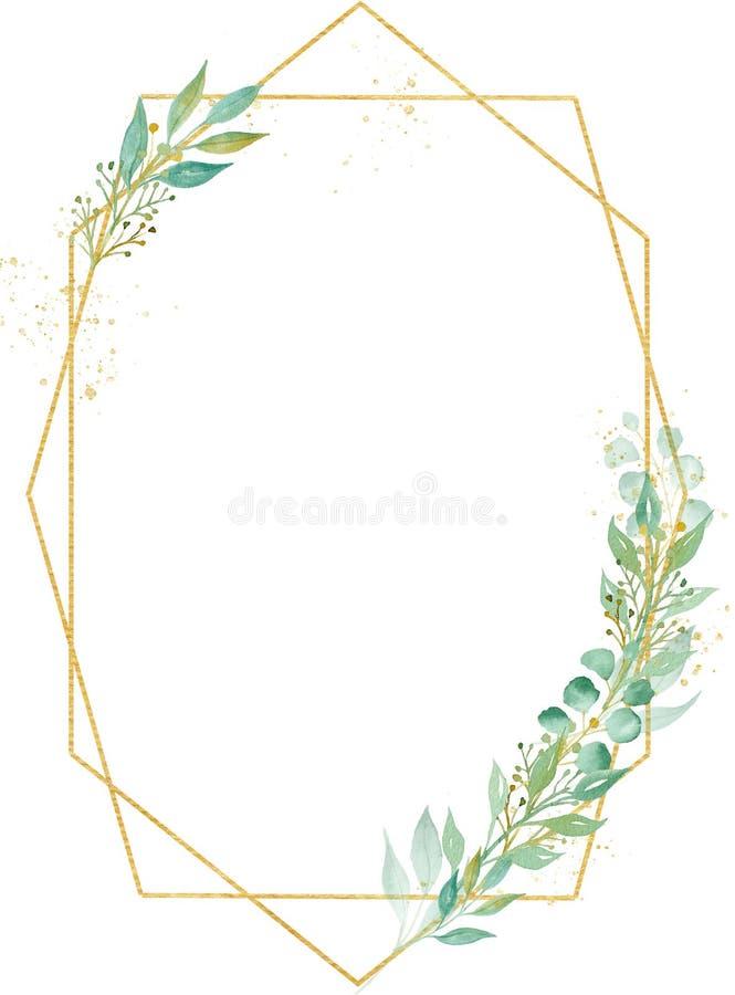 Ilustração oval minimalistic decorativa da quadriculação da aquarela do quadro ilustração do vetor