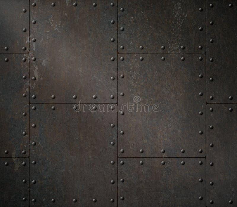 Ilustração oxidada escura da armadura 3d do metal ilustração stock