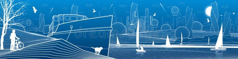 Ilustração panorâmico da infraestrutura da cidade Ciclista com o cão sob a árvore Navio aterrado na costa de mar Iate da navigaçã ilustração stock