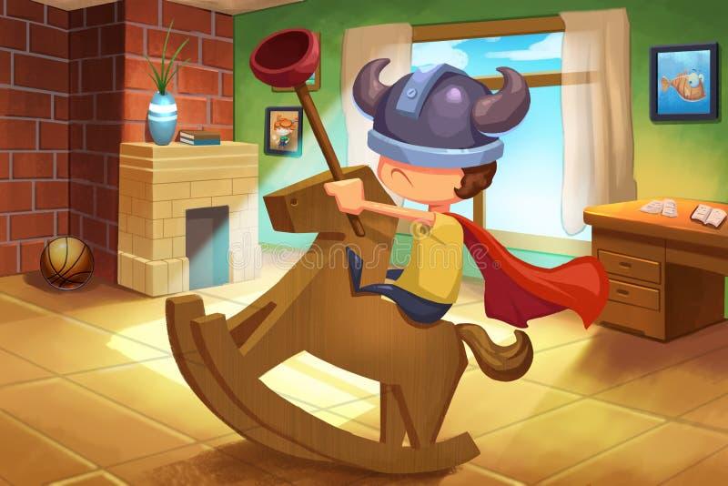 Ilustração para crianças: Little Boy está jogando em sua própria maneira só ilustração do vetor