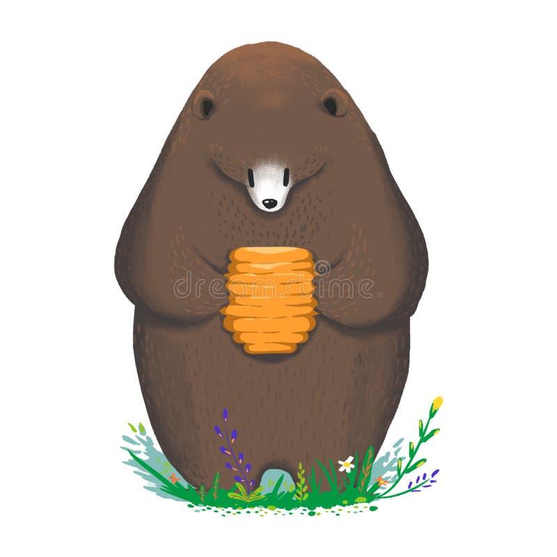 Ilustração para crianças: O urso obtém seu alimento favorito - Honey Hive doce! ilustração royalty free