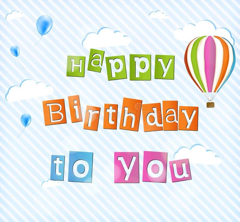 Ilustração para o cartão do feliz aniversario ilustração royalty free