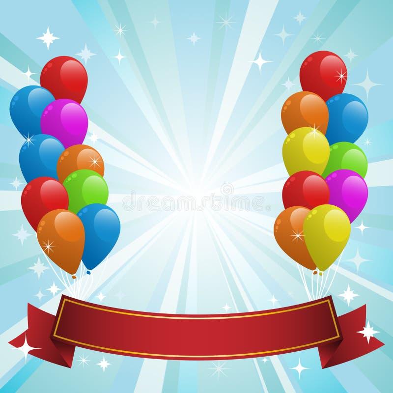 Ilustração para o cartão do feliz aniversario com balões ilustração royalty free