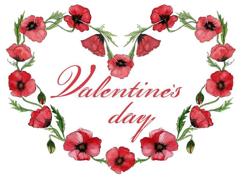 Ilustração para o cartão do Valentim As flores vermelhas da papoila estão fazendo um quadro dado forma coração com dia do ` s do  ilustração do vetor