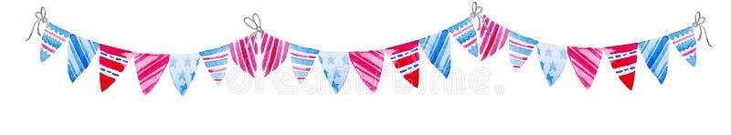 Ilustração para 4o julho Bandeiras da estamenha da aquarela Celebração do Dia da Independência americano ilustração stock