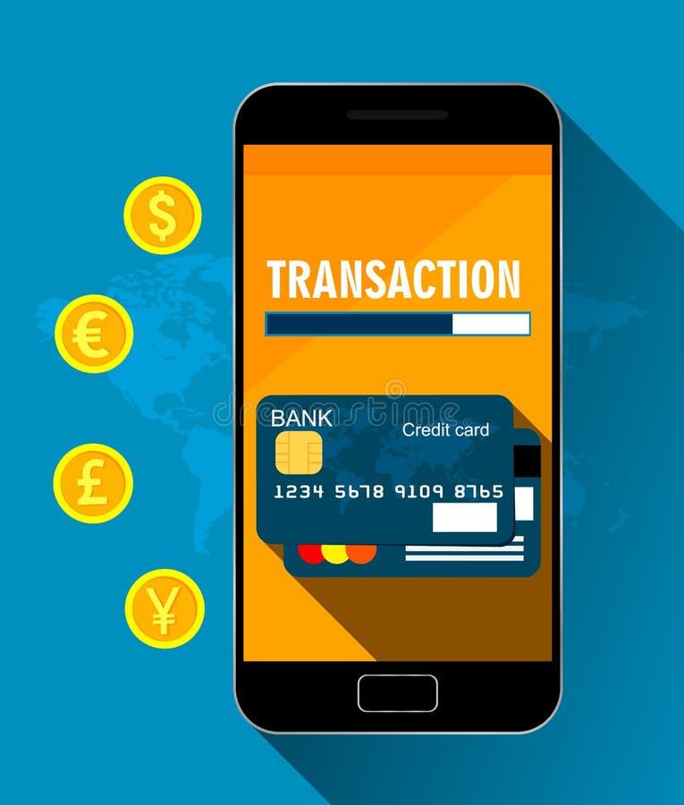 Ilustração para a transação do dinheiro, a operação bancária móvel e pagamentos móveis Tecnologia do negócio Ilustração do vetor ilustração do vetor